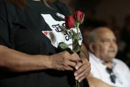 Mourners attend a service for Margie Reckard, who was killed in a mass shooting earlier in the month, at La Paz Faith Memorial & Spiritual Center Friday, Aug. 16, 2019, in El Paso, Texas. (Mark Lambie/The El Paso Times via AP)