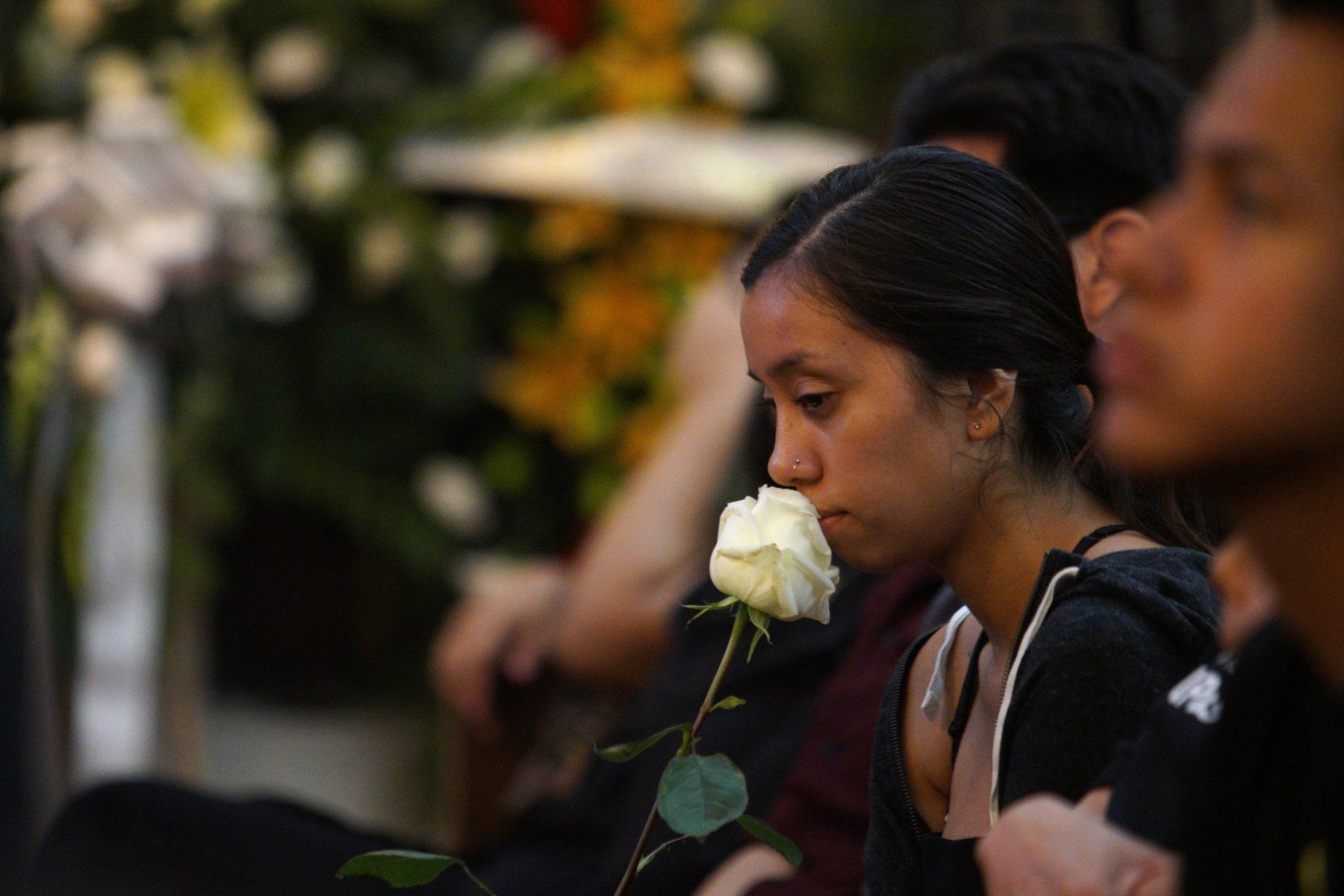 People gather at La Paz Faith Memorial & Spiritual Center, to offer condolences to the family of Margie Reckard during her funeral Friday, Aug. 16, 2019, in El Paso, Texas. Reckard was killed during the mass shooting on Aug. 3.(AP Photo/Jorge Salgado)