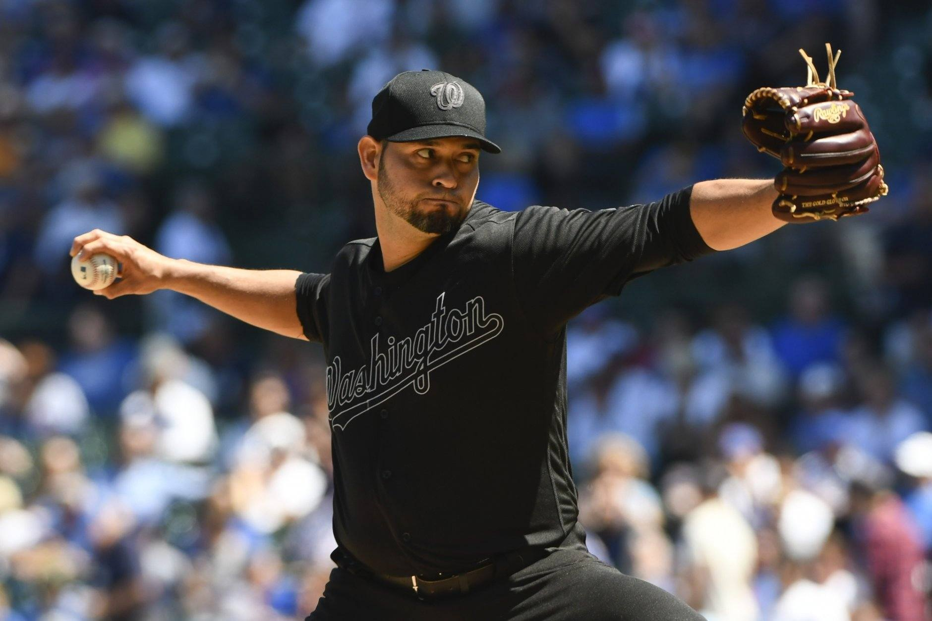 Washington Nationals starting pitcher Anibel Sanchez (19) delivers during the first inning of a baseball game against Chicago Cubs the Friday, Aug. 23, 2019, in Chicago. (AP Photo/Matt Marton)