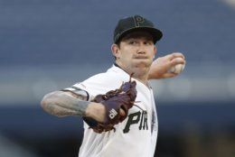 Pittsburgh Pirates starter Steven Brault pitches against the Washington Nationals in the first inning of a baseball game Thursday, Aug. 22, 2019, in Pittsburgh. (AP Photo/Keith Srakocic)