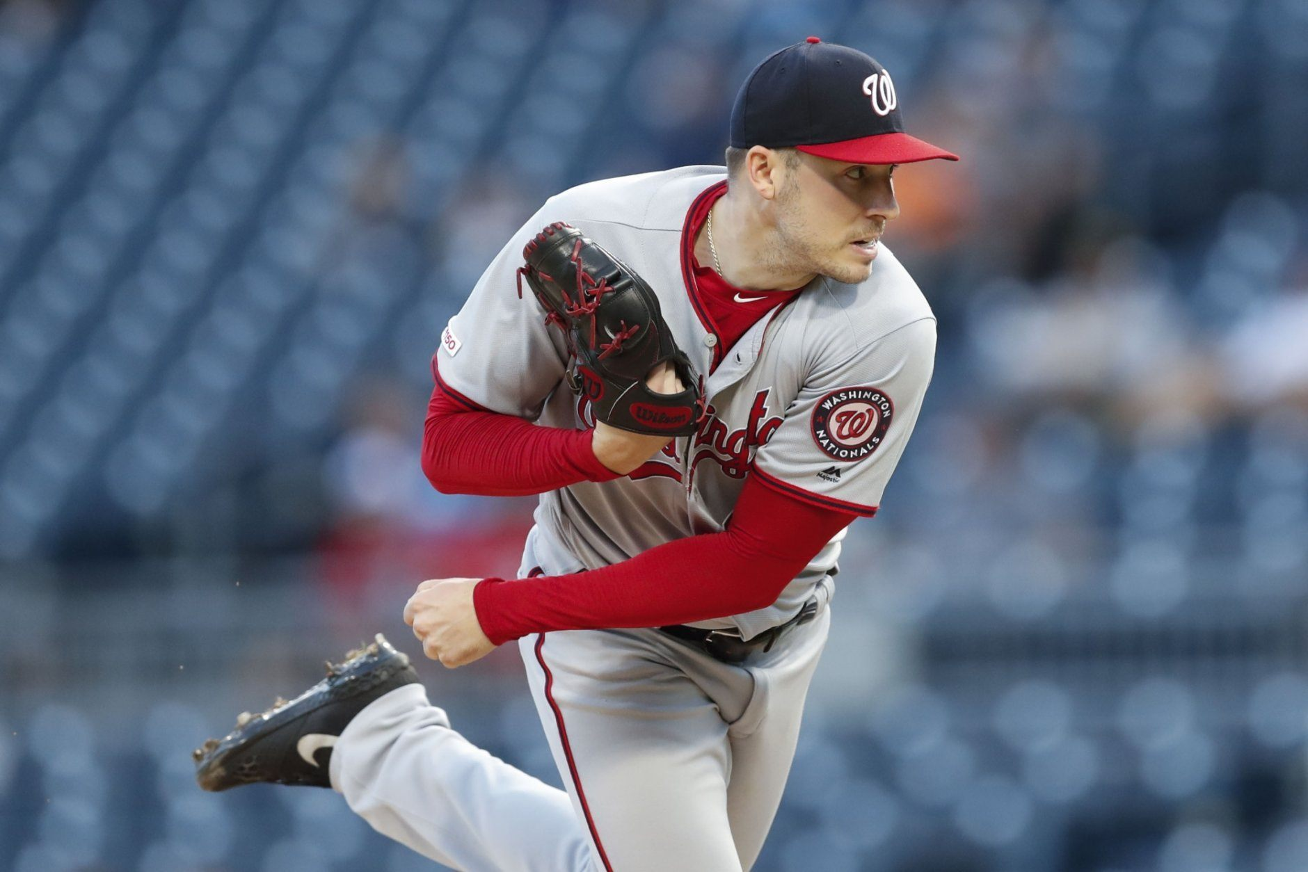 Washington Nationals starter Patrick Corbin pitches to a Pittsburgh Pirates batter during the first inning of a baseball game Wednesday, Aug. 21, 2019, in Pittsburgh. (AP Photo/Keith Srakocic)
