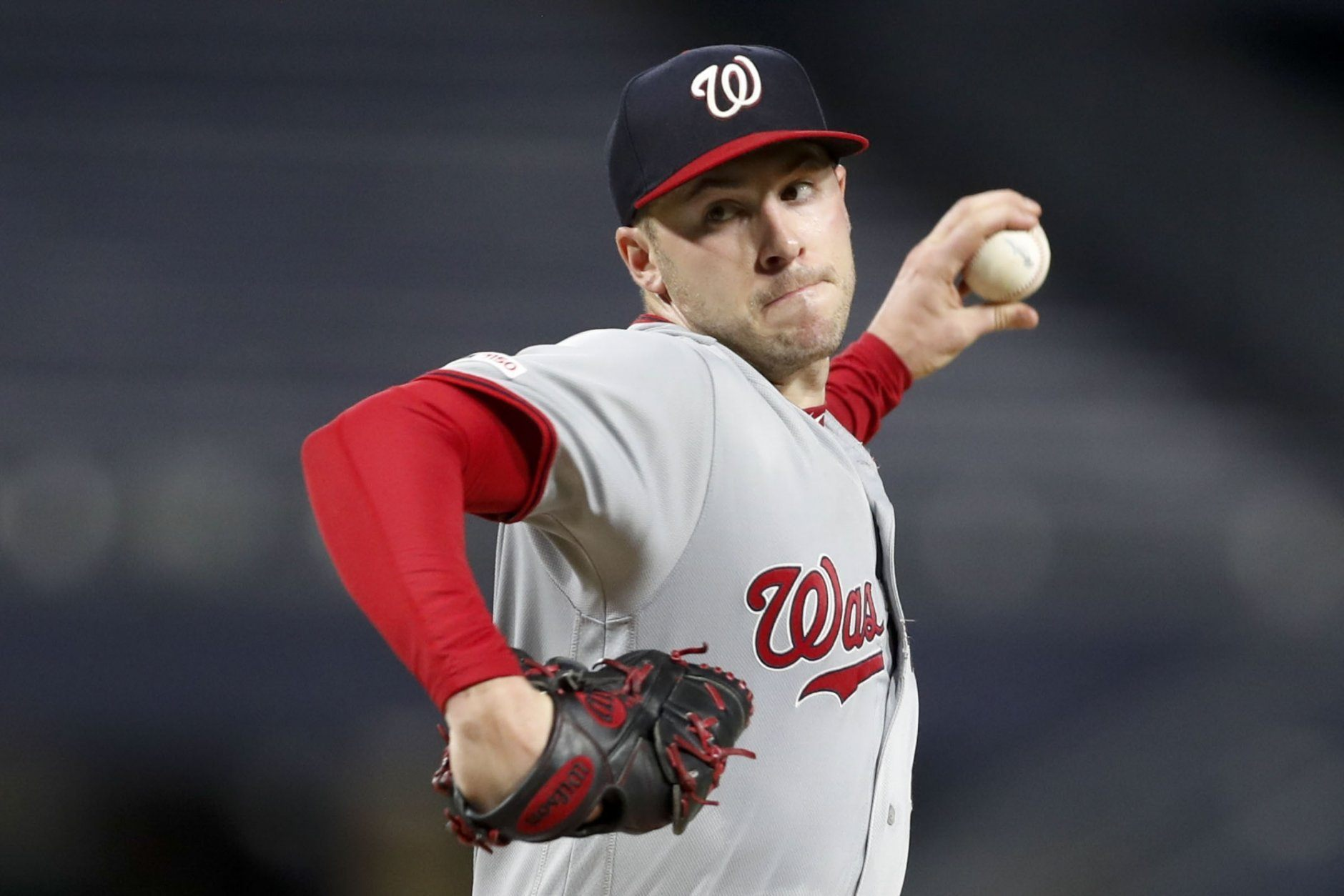 Washington Nationals starting pitcher Patrick Corbin throws to a Pittsburgh Pirates batter during the seventh inning of a baseball game Wednesday, Aug. 21, 2019, in Pittsburgh. (AP Photo/Keith Srakocic)