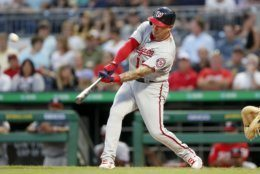 Washington Nationals' Asdrubal Cabrera hits a three-run home run off Pittsburgh Pirates starting pitcher Joe Musgrove during the third inning of a baseball game Wednesday, Aug. 21, 2019, in Pittsburgh. (AP Photo/Keith Srakocic)