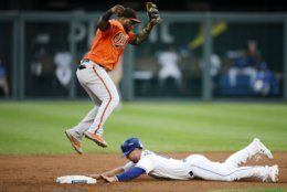 Kansas City Royals' Brett Phillips, bottom, steals second base as Baltimore Orioles second baseman Hanser Alberto, top, catches a high throw from Orioles catcher Chance Sisco in the second inning of a baseball game at Kauffman Stadium in Kansas City, Mo., Saturday, Aug. 31, 2019. (AP Photo/Colin E. Braley)