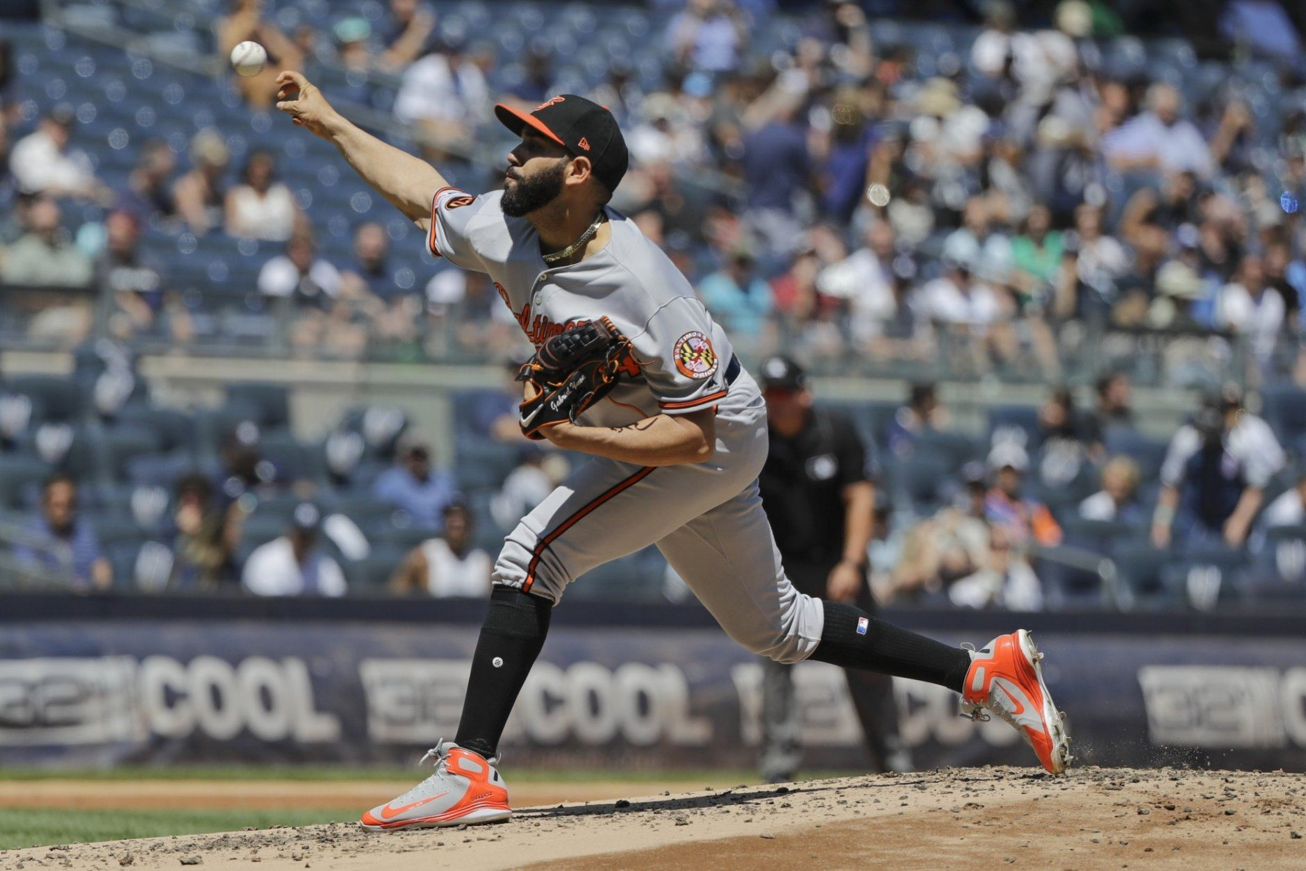 Baltimore Orioles' Gabriel Ynoa delivers a pitch during the first inning of a baseball game against the New York Yankees in the first game of a doubleheader Monday, Aug. 12, 2019, in New York. (AP Photo/Frank Franklin II)