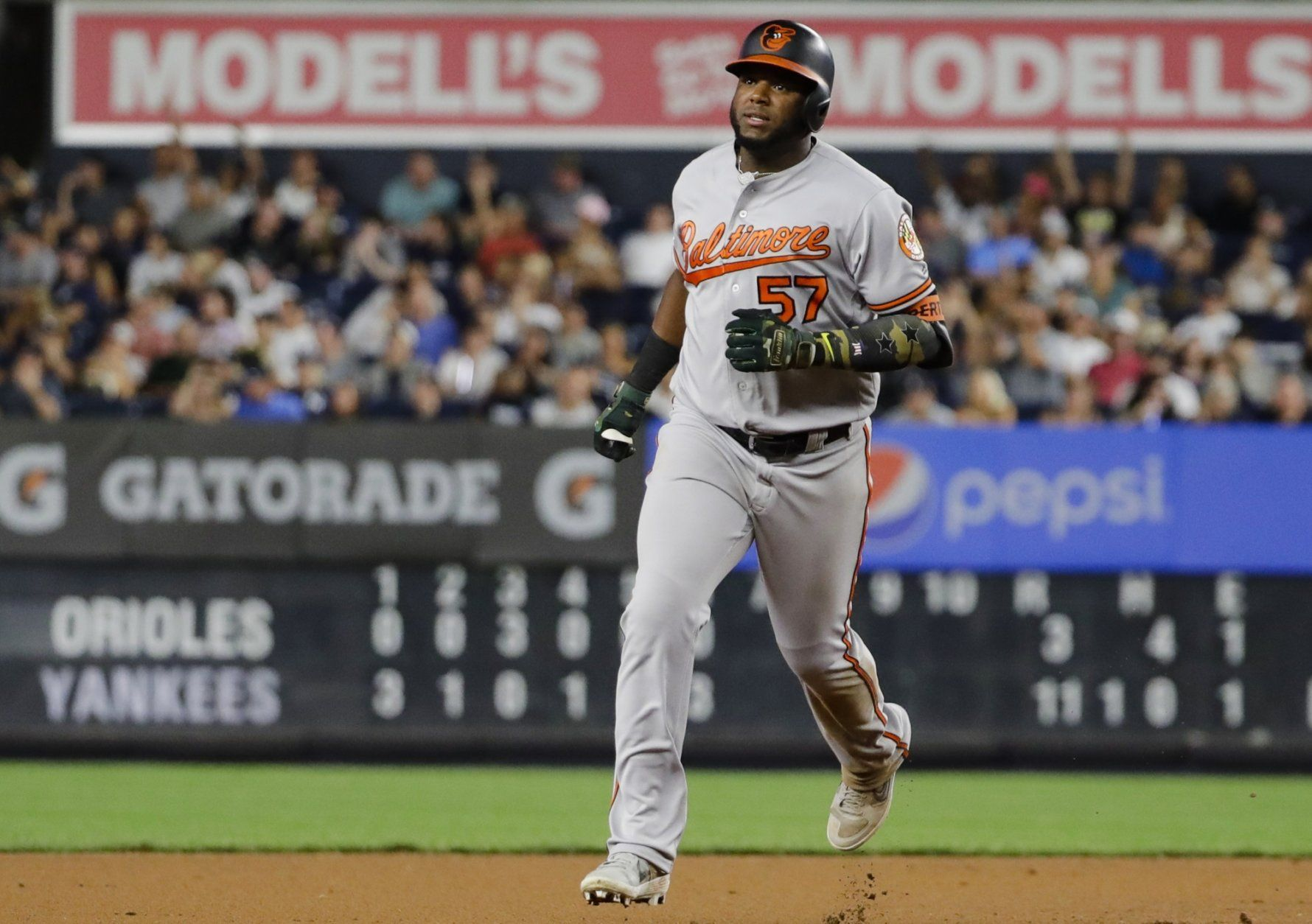 Baltimore Orioles' Hanser Alberto runs the bases after hitting a three-run home run during the seventh inning of the second game of a baseball doubleheader against the New York Yankees, Monday, Aug. 12, 2019, in New York. (AP Photo/Frank Franklin II)