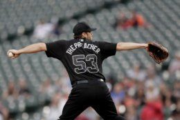 Baltimore Orioles starting pitcher Ty Blach throws to a Tampa Bay Rays batter during the first inning of a baseball game, Friday, Aug. 23, 2019, in Baltimore. (AP Photo/Julio Cortez)