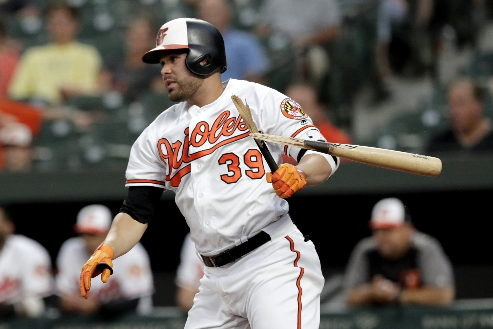 <p>Baltimore Orioles designated hitter Renato Nunez breaks his bat while grounding out to the Kansas City Royals during the first inning of a baseball game Tuesday, Aug. 20, 2019, in Baltimore.</p>