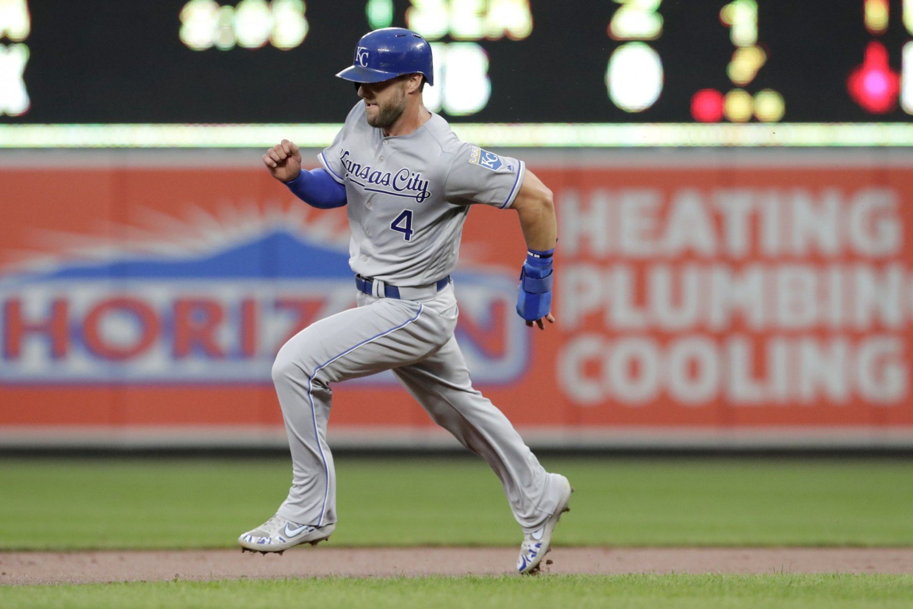 <p>Kansas City Royals&#8217; Alex Gordon advances to third on a single by Ryan O&#8217;Hearn off Baltimore Orioles starting pitcher Dylan Bundy during the second inning of a baseball game Tuesday, Aug. 20, 2019, in Baltimore.</p>