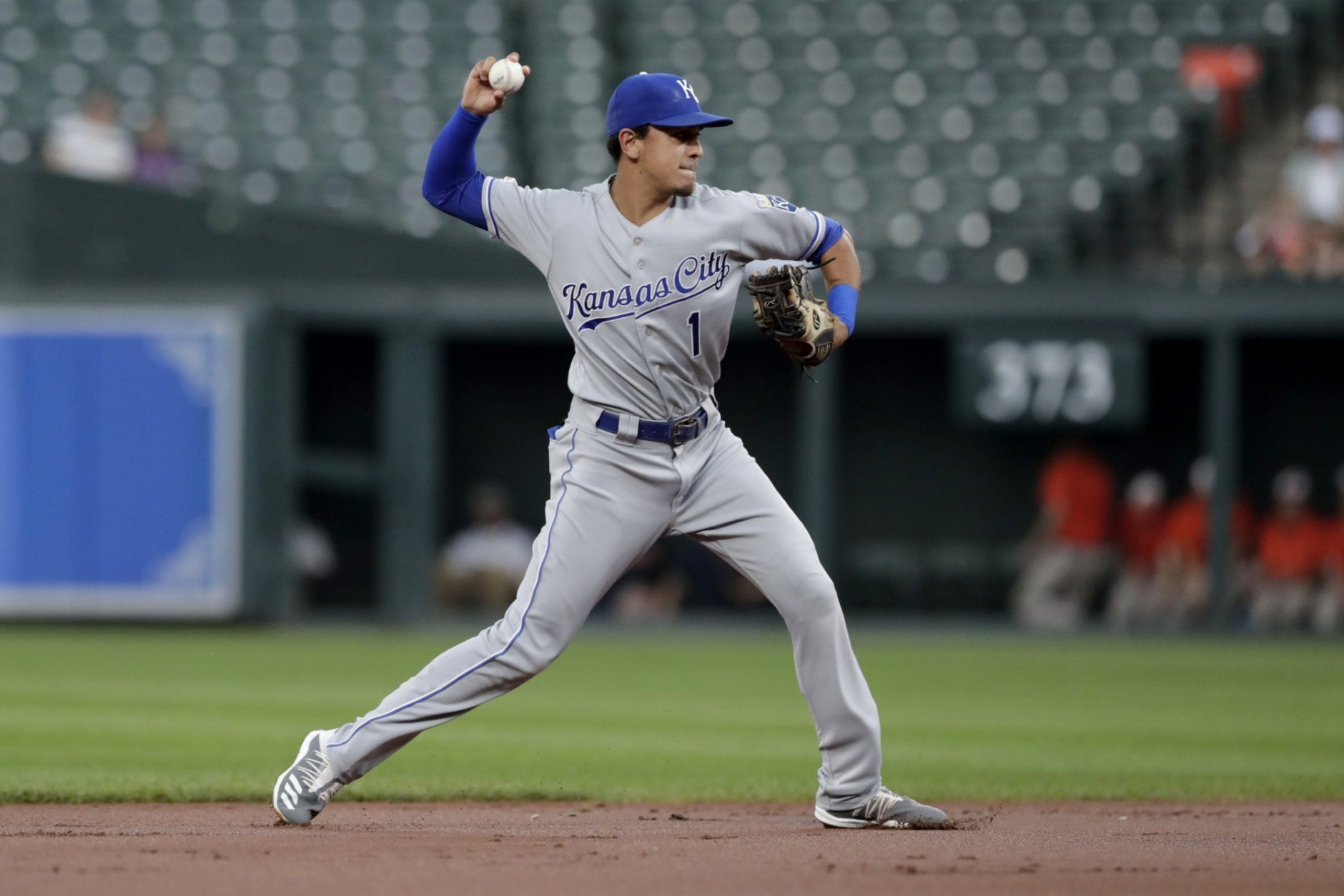 <p>Kansas City Royals shortstop Nicky Lopez throws to first after fielding a ground ball from Baltimore Orioles&#8217; Jonathan Villar during the first inning of a baseball game Tuesday, Aug. 20, 2019, in Baltimore.</p>