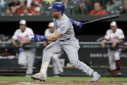 <p>Kansas City Royals&#8217; Alex Gordon follows through on a single off Baltimore Orioles starting pitcher Dylan Bundy during the second inning of a baseball game Tuesday, Aug. 20, 2019, in Baltimore.</p>