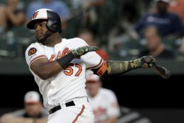 <p>Baltimore Orioles&#8217; Hanser Alberto follows through on a swing during the second inning of the team&#8217;s baseball game against the Kansas City Royals on Tuesday, Aug. 20, 2019, in Baltimore.</p>