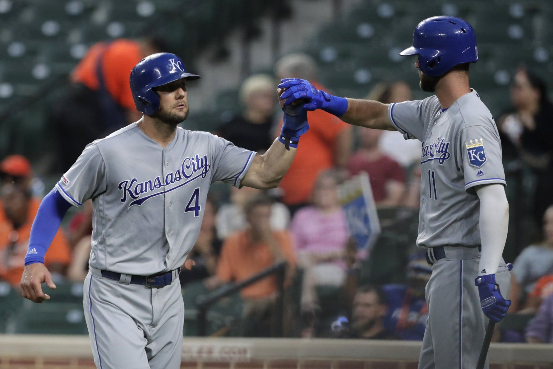 <p>Kansas City Royals&#8217; Alex Gordon, left, is greeted near the dugout by Bubba Starling after scoring on a sacrifice fly by Meibrys Viloria during the second inning of the team&#8217;s baseball game against the Baltimore Orioles, Tuesday, Aug. 20, 2019, in Baltimore.</p>