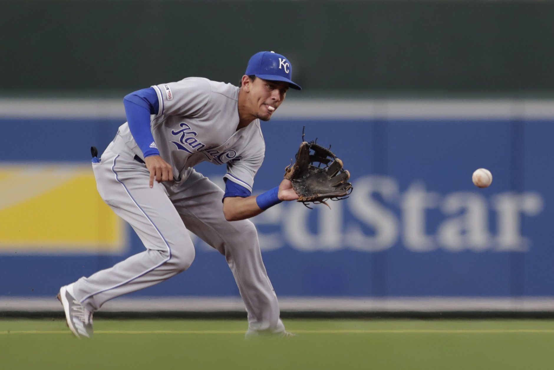 Kansas City Royals second baseman Nicky Lopez fields a ground ball by a Baltimore Orioles batter during the first inning of a baseball game, Monday, Aug. 19, 2019, in Baltimore. (AP Photo/Julio Cortez)