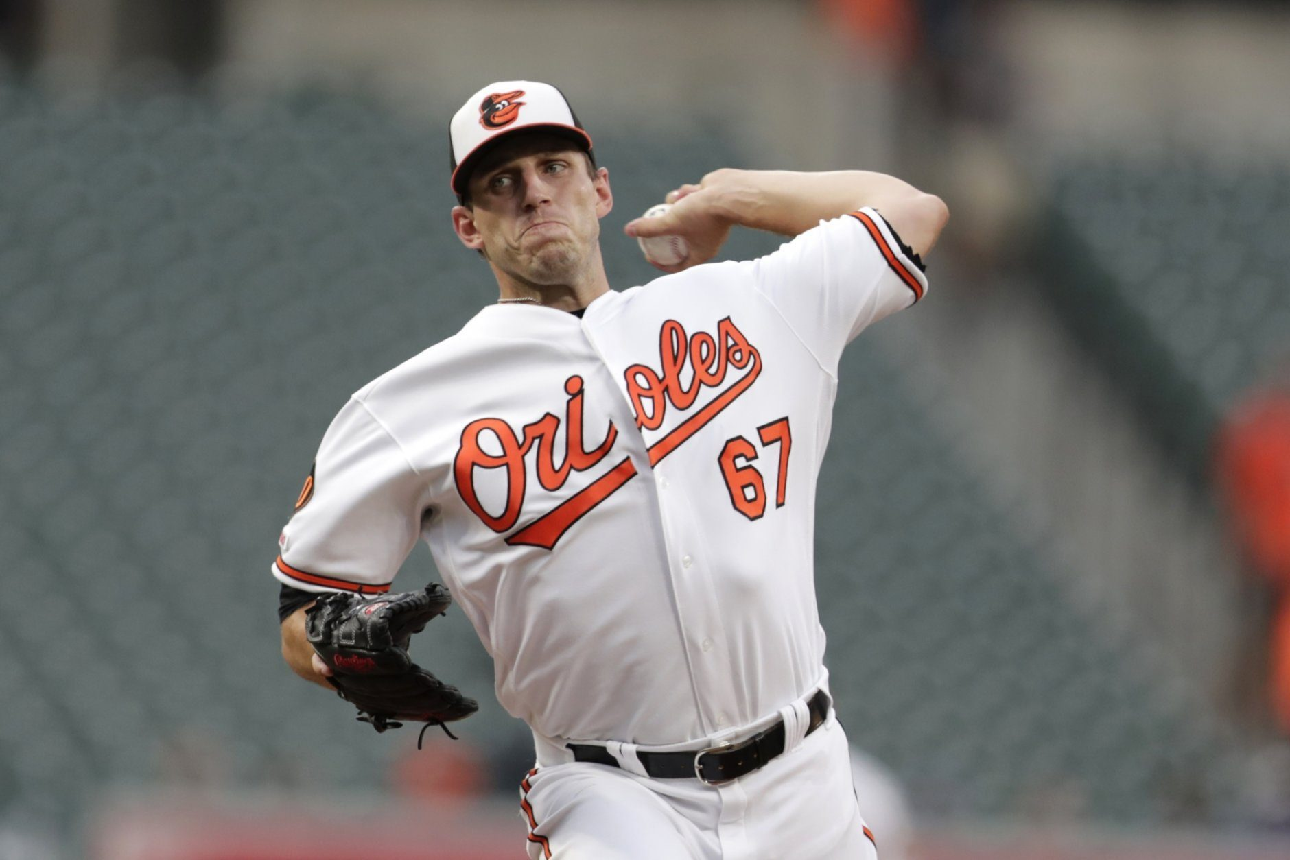 Baltimore Orioles starting pitcher John Means throws a pitch to a Kansas City Royals batter during the first inning of a baseball game, Monday, Aug. 19, 2019, in Baltimore. (AP Photo/Julio Cortez)