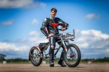 A daredevil broke a 24-year cycling speed record, hitting 174 miles per hour