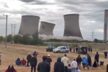 Massive planned implosion of UK power station towers