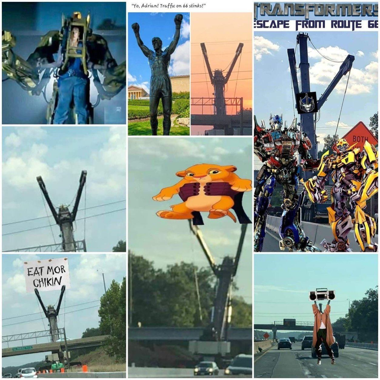"""A sampling of the many memes that have brought """"Steve the Crane"""" to local celebrity status."""