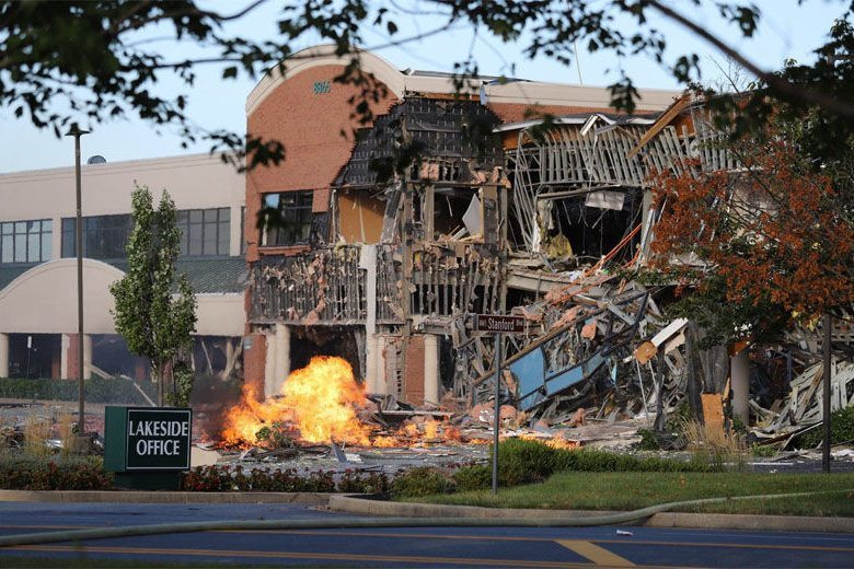 Gas explosion destroys office building, rattles homes in Howard Co.