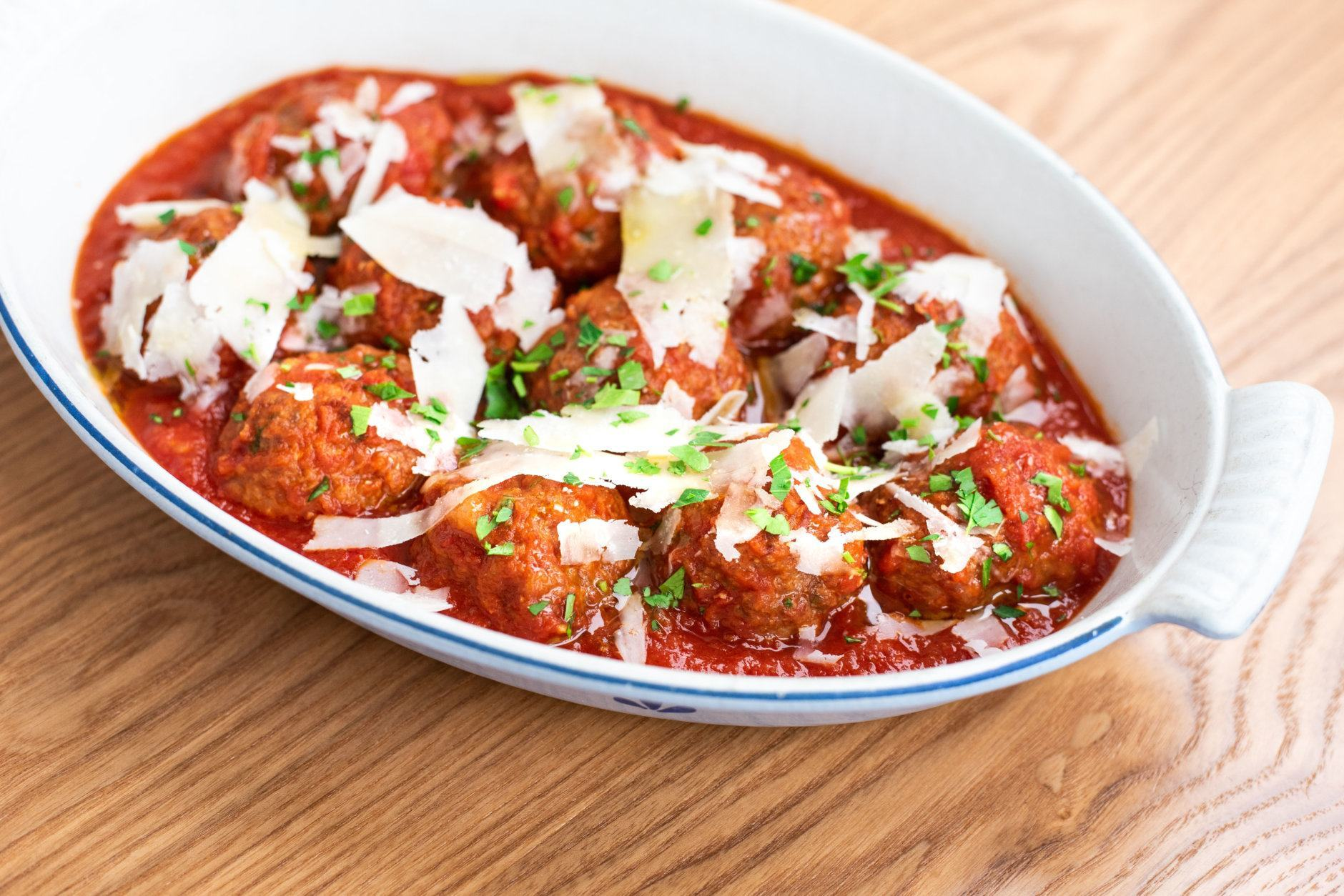 A bowl of meatballs at Thompson Italian