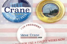 """Meme shows """"Steve the Crane for President"""" buttons"""
