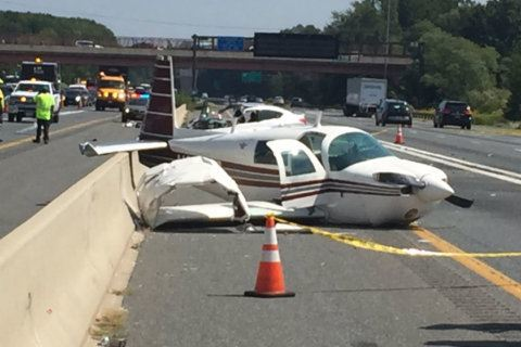 'Incredibly lucky': No major injuries after small plane crashes into car, lands on US 50