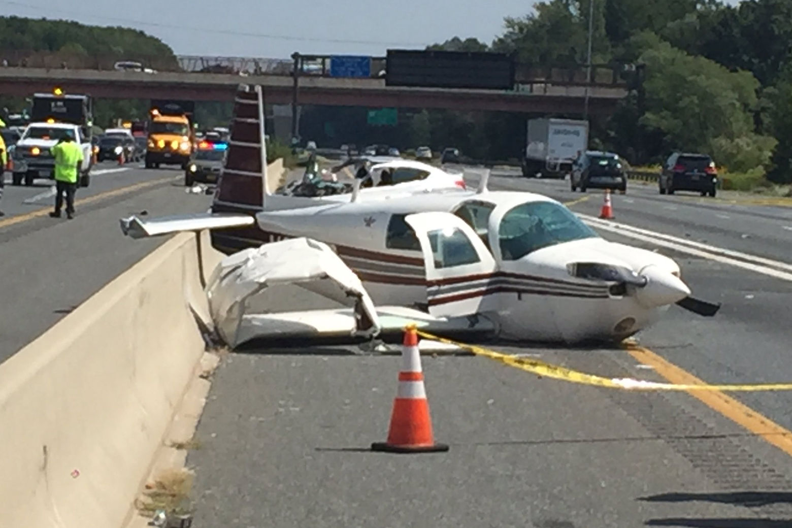 The plane crashed after taking off from nearby Freeway Airport, authorities said. (WTOP/John Domen)
