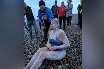 Cancer survivor becomes first person to swim English Channel four times non-stop