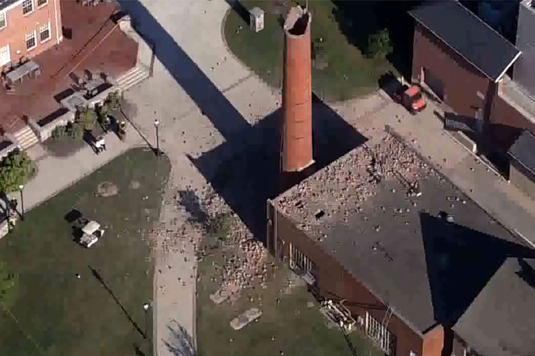 An explosion in a boiler room at the McDonogh School in Owings Mill, Maryland, injured two adults a child Sept. 18. (Courtesy NBC Washington)