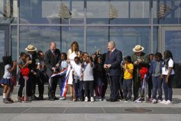 First lady Melania Trump participates in a ribbon-cutting ceremony to re-open the Washington Monument, Thursday, Sept. 19, 2019, in Washington. The monument has been closed to the public for renovations since August 2016. Trump was joined by students from Amidon-Bowen Elementary School in Washington. (AP Photo/Patrick Semansky)