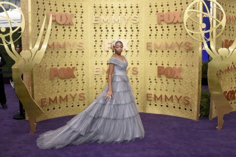 Pink and red combos, Hollywood gold on the Emmys carpet