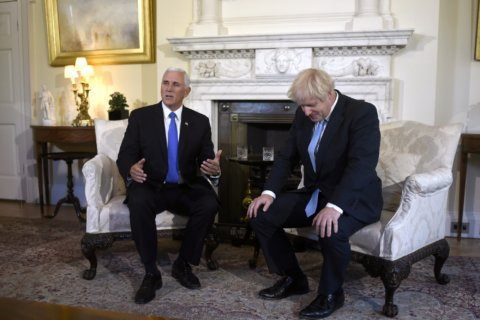 Pence tiptoes past Brexit tumult for an oh-so-chipper chat