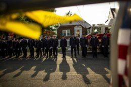 New York Fire Department members attend a second funeral service for FDNY firefighter Michael Haub in Franklin Square, N.Y., Tuesday, Sept. 10, 2019. The firefighter from Long Island who died in the World Trade Center attacks is being remembered for a second time on the eve of the 18th anniversary of 9/11. Friends and family gathered at the memorial service for Haub on Tuesday in Franklin Square. Last week, the New York City medical examiner identified more of his remains recovered at ground zero. (AP Photo/Eduardo Munoz Alvarez)