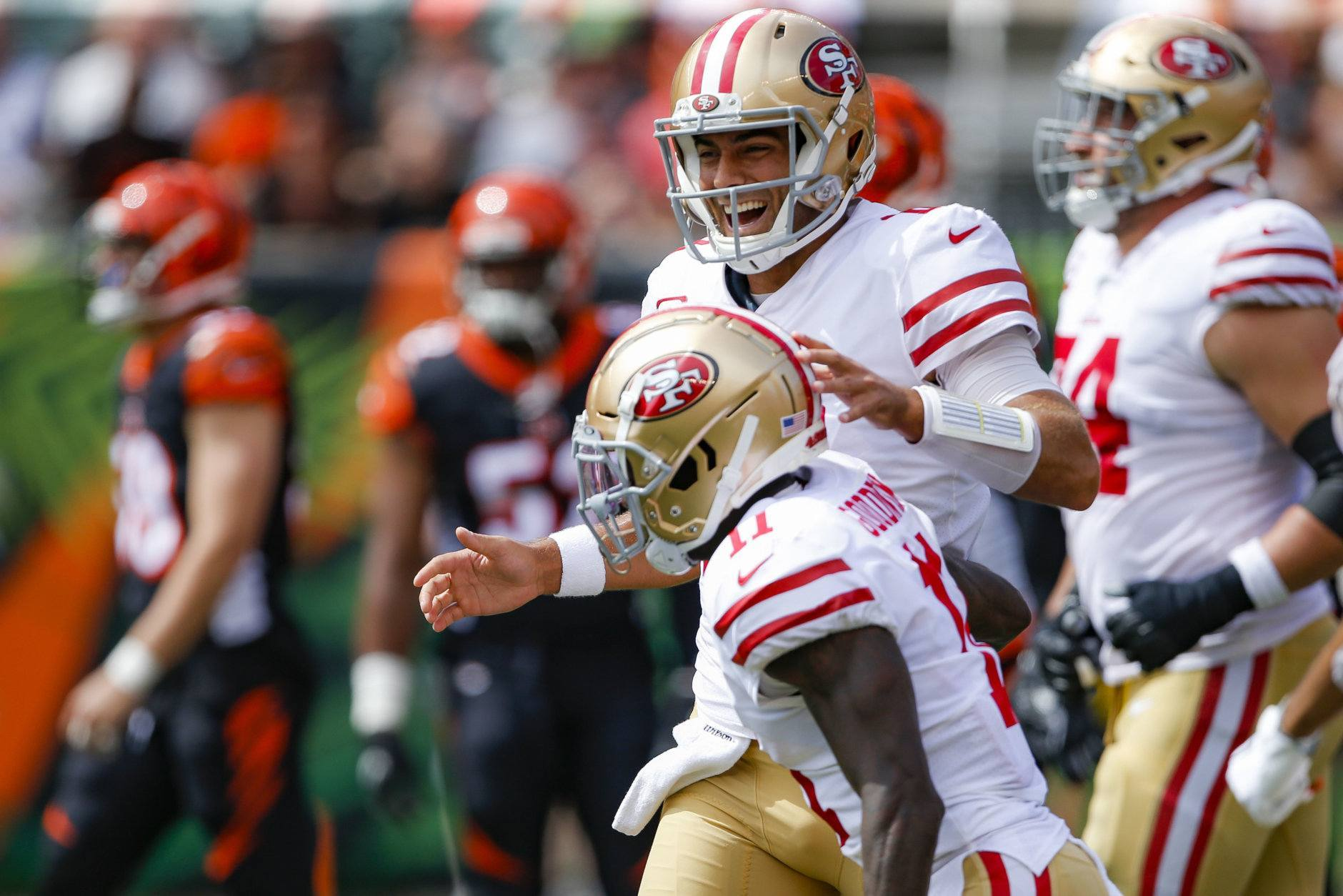"<p><b><i>49ers 41</i></b><br /> <b><i>Bengals 17</i></b></p> <p>Good for San Francisco: Jimmy G looks like the guy they banked on him developing into and the Niners are 2-0 for the first time since 2012. Beating the lousy Bengals and Bucs is one thing, but if they can knock off a desperate Steelers team (even with <a href=""https://deadspin.com/heres-a-really-bizarre-stat-about-the-steelers-1830710641"" target=""_blank"" rel=""noopener"">their infamous West Coast struggles</a>) it&#8217;ll be time to talk about whether the NFC West is the best division in football.</p>"