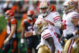 """<p><b><i>49ers 41</i></b><br /> <b><i>Bengals 17</i></b></p> <p>Good for San Francisco: Jimmy G looks like the guy they banked on him developing into and the Niners are 2-0 for the first time since 2012. Beating the lousy Bengals and Bucs is one thing, but if they can knock off a desperate Steelers team (even with <a href=""""https://deadspin.com/heres-a-really-bizarre-stat-about-the-steelers-1830710641"""" target=""""_blank"""" rel=""""noopener"""">their infamous West Coast struggles</a>) it&#8217;ll be time to talk about whether the NFC West is the best division in football.</p>"""