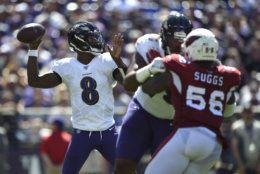 """<p><b><i>Cardinals 17</i></b><br /> <b><i>Ravens 23</i></b></p> <p>This game was less about T-Sizzle&#8217;s <a href=""""https://twitter.com/jamisonhensley/status/1171802753456386048"""">&#8220;BS&#8221; return</a> and more about these young QBs. Kyler Murray <a href=""""https://www.espn.com/nfl/story/_/id/27624186/murray-2nd-throw-300-yards-first-2-games"""">made history</a> during another fourth-quarter comeback that came up short and Lamar Jackson reminded us he is still one of the most dangerous dual threats in the league by becoming the first player in NFL history to notch at least 250 passing yards and 120 rushing yards in a single game (<a href=""""https://twitter.com/PFF_Jeff/status/1173401017867571200?s=20"""" target=""""_blank"""" rel=""""noopener"""">sort of</a>). If Action Jackson keeps this up in Kansas City, we&#8217;re in for a treat.</p>"""