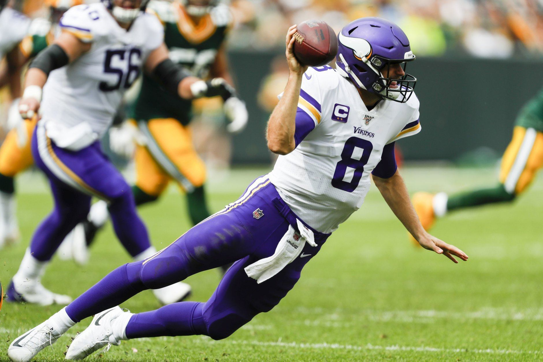 "<p><b><i>Vikings 16</i></b><br /> <b><i>Packers 21</i></b></p> <p>Even though Matt LaFleur is the first Packers coach since Vince Lombardi to start 2-0, Aaron Rodgers <a href=""https://profootballtalk.nbcsports.com/2019/09/15/aaron-rodgers-says-he-and-matt-lafleur-werent-yelling-how-much-we-love-each-other/"" target=""_blank"" rel=""noopener"">still isn&#8217;t feeling him</a>. And Minnesota still isn&#8217;t feeling Kirk Cousins after he threw one of his two picks to former Redskins teammate Preston Smith, and the other to kill a potential go-ahead drive to continue <a href=""https://www.yardbarker.com/nfl/articles/this_stat_shows_just_how_bad_kirk_cousins_has_been/s1_12680_30008363"" target=""_blank"" rel=""noopener"">a mindnumbingly terrible trend</a>. Captain Kirk got a 154-yard performance from Dalvin Cook and the defense played well enough to win on the road, so dude really is running out of excuses.</p>"