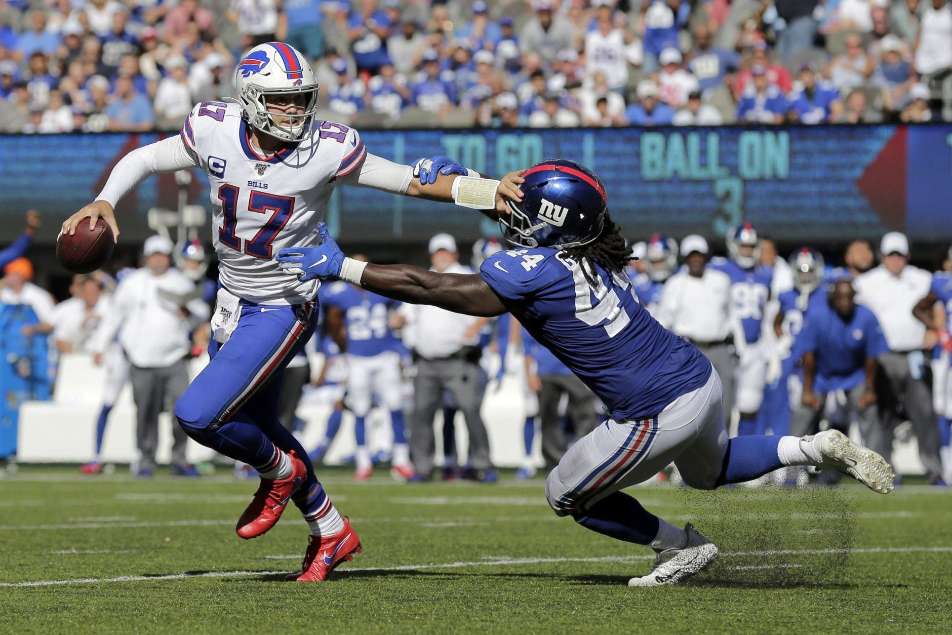 "<p><b><i>Bills 28</i></b><br /> <b><i>Giants 14</i></b></p> <p>Josh Allen completed a two-game sweep of the Meadowlands and <a href=""https://buffalonews.com/2019/09/15/buffalo-bills-josh-allen-new-york-jets-new-york-giants-met-life-stadium/"">claimed sole ownership of the state of New York</a> — all on a day when the Bills defense literally <a href=""https://www.nj.com/giants/2019/09/bills-defense-admits-simple-plan-to-beat-giants-make-eli-manning-throw.html"">called Eli Manning a liability</a>. It doesn&#8217;t exactly absolve <a href=""http://www.nfl.com/videos/nfl-videos/0ap2000000213456/Super-Bowl-XXV-Scott-Norwood-misses-field-goal-wide-right"">Scott Norwood</a> of Wide Right, but Buffalo will take their first 2-0 start in five years.</p>"
