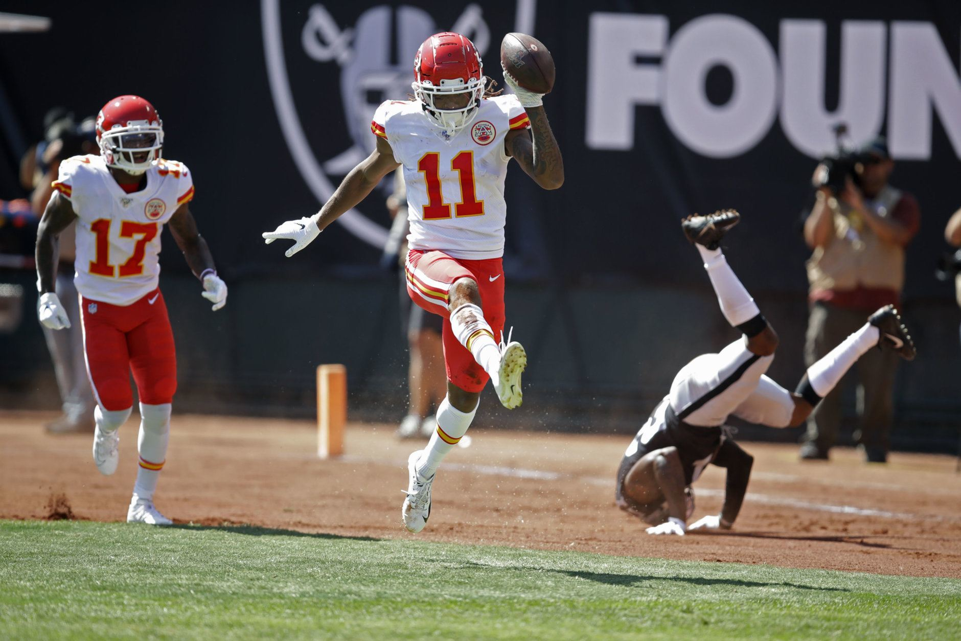 "<p><b><i>Chiefs 28</i></b><br /> <b><i>Raiders 10</i></b></p> <p>Thankfully, this was the last time we had to witness the sports abomination of seeing <a href=""https://profootballtalk.nbcsports.com/2019/09/10/chiefs-raiders-on-sunday-will-be-last-nfl-game-on-a-baseball-infield/"">football played on a baseball field</a>. If only we could ensure this is the last time we have to witness another Gruden-coached abomination …</p> <p>Oh, and a duel between dual threats Patrick Mahomes and Lamar Jackson next week? Yes, please.</p>"