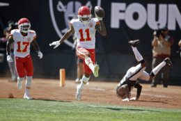 """<p><b><i>Chiefs 28</i></b><br /> <b><i>Raiders 10</i></b></p> <p>Thankfully, this was the last time we had to witness the sports abomination of seeing <a href=""""https://profootballtalk.nbcsports.com/2019/09/10/chiefs-raiders-on-sunday-will-be-last-nfl-game-on-a-baseball-infield/"""">football played on a baseball field</a>. If only we could ensure this is the last time we have to witness another Gruden-coached abomination …</p> <p>Oh, and a duel between dual threats Patrick Mahomes and Lamar Jackson next week? Yes, please.</p>"""