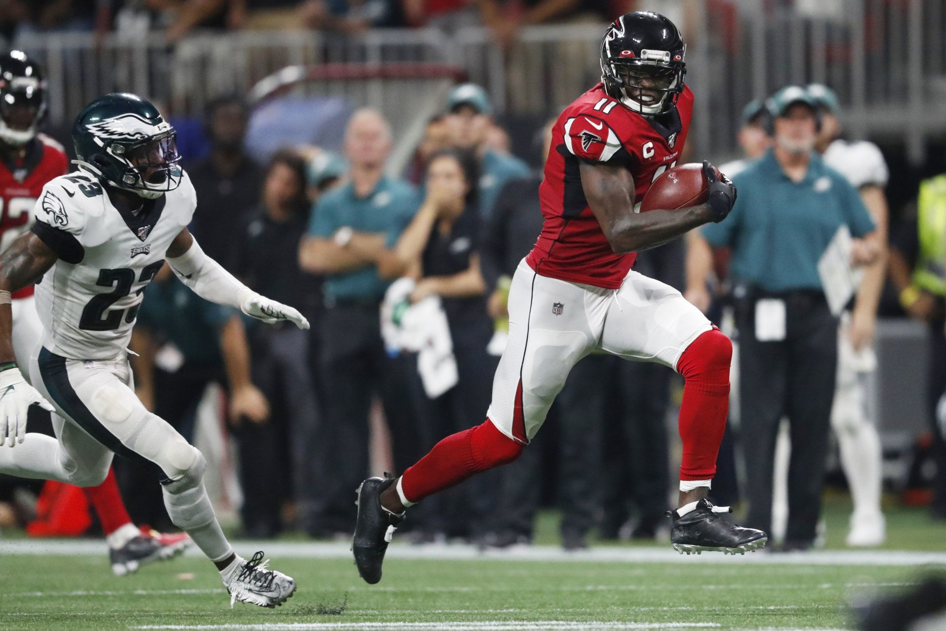 "<p><b><i>Eagles 20</i></b><br /> <b><i>Falcons 24</i></b></p> <p>On a night when DeSean Jackson&#8217;s <a href=""https://profootballtalk.nbcsports.com/2019/09/10/desean-jackson-trails-only-jerry-rice-in-career-touchdowns-50-yards-or-longer/"">considerable big-play talents</a> were missed on the prime time stage, Julio Jones stepped up in the clutch with a 54-yard touchdown to save Atlanta&#8217;s season. Think that&#8217;s hyperbolic? It&#8217;s not. The Falcons play three of their next four games on the road before hosting the Rams and Seahawks. They needed this.</p> <p>And Philly really needs the players they lost to injury in this game to be ok. Carson Wentz looked decidedly worse without DJax and Alshon Jeffery, and the second-oldest roster in the NFL doesn&#8217;t appear to have the depth to withstand multiple injuries to their skill positions.</p>"