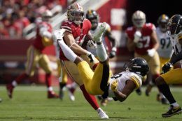 "<p><b><i>Steelers 20</i></b><br /> <b><i>49ers 24</i></b></p> <p>It&#8217;s not often a team&#8217;s turnovers (5) outnumbers its margin of victory but San Fran survived the sloppiest game of the season yet to lock up their first 3-0 start in 21 years, while Pittsburgh continued its <a href=""https://deadspin.com/heres-a-really-bizarre-stat-about-the-steelers-1830710641"" target=""_blank"" rel=""noopener"" data-saferedirecturl=""https://www.google.com/url?q=https://deadspin.com/heres-a-really-bizarre-stat-about-the-steelers-1830710641&amp;source=gmail&amp;ust=1569294743340000&amp;usg=AFQjCNGT8oENKOVqBaSe-M9CVSLPn3Iz1Q"">awful history on the West Coast</a>. If the Steelers can&#8217;t beat the Bengals at home in next Monday&#8217;s primetime battle of winless teams, it could be the low point of a really long season in the Steel City.</p>"