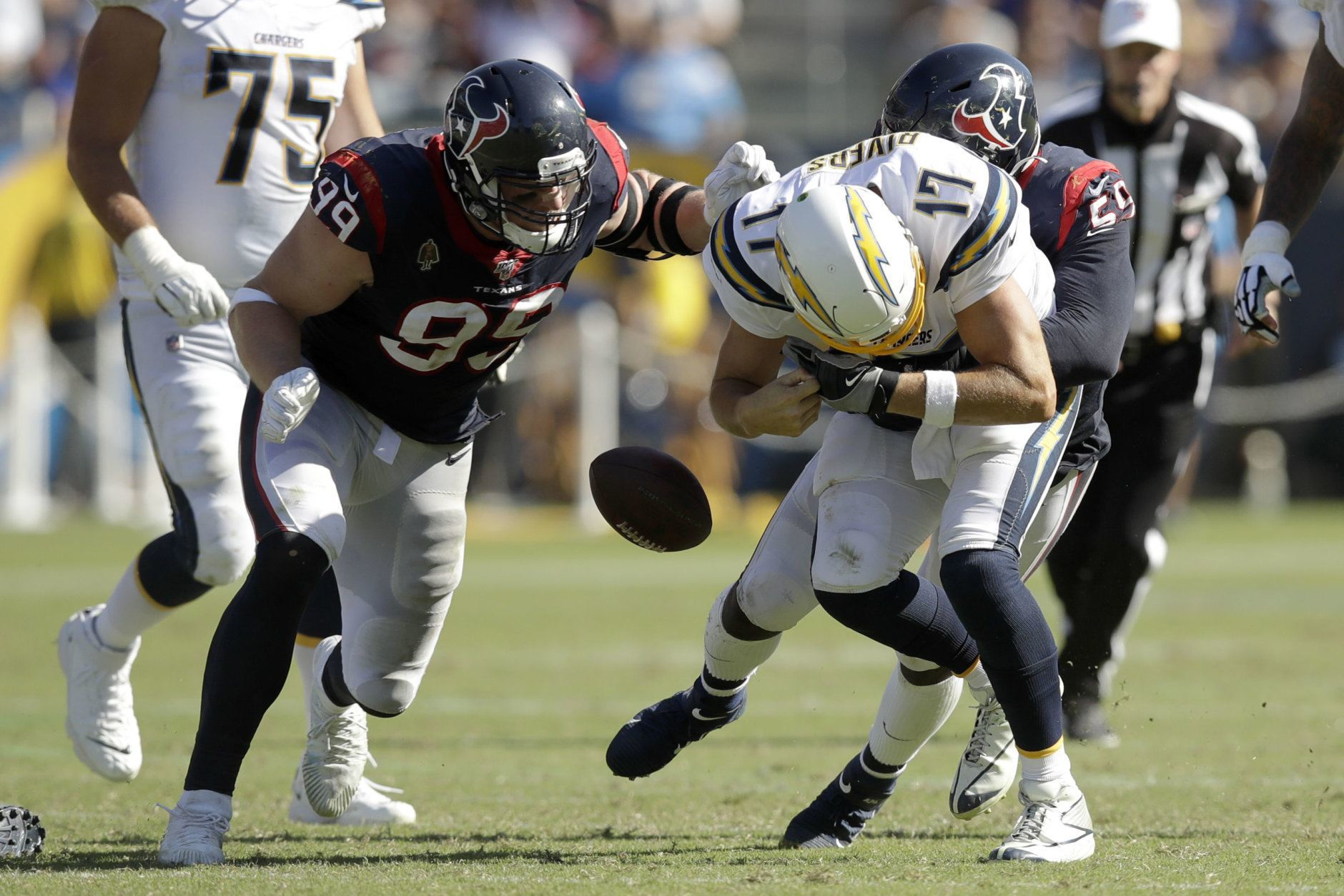 "<p><b><i>Texans 27</i></b><br /> <b><i>Chargers 20</i></b></p> <p>Philip Rivers — the literal <a href=""https://profootballtalk.nbcsports.com/2019/09/18/philip-rivers-set-for-211th-straight-start-with-other-2004-first-round-qbs-out-of-action/"" target=""_blank"" rel=""noopener"" data-saferedirecturl=""https://www.google.com/url?q=https://profootballtalk.nbcsports.com/2019/09/18/philip-rivers-set-for-211th-straight-start-with-other-2004-first-round-qbs-out-of-action/&amp;source=gmail&amp;ust=1569294743340000&amp;usg=AFQjCNG1y09AxLVbEMCfAEIR3UYwZhvqqw"">last man standing</a> from the QB Class of 2004 — couldn&#8217;t avoid a second straight late-game letdown but the Chargers can take solace in their virtual bye week in Miami next week.</p>"