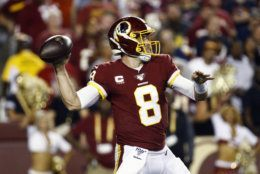 Washington Redskins quarterback Case Keenum throws during the first half of an NFL football game against the Chicago Bears, Monday, Sept. 23, 2019, in Landover, Md. (AP Photo/Patrick Semansky)