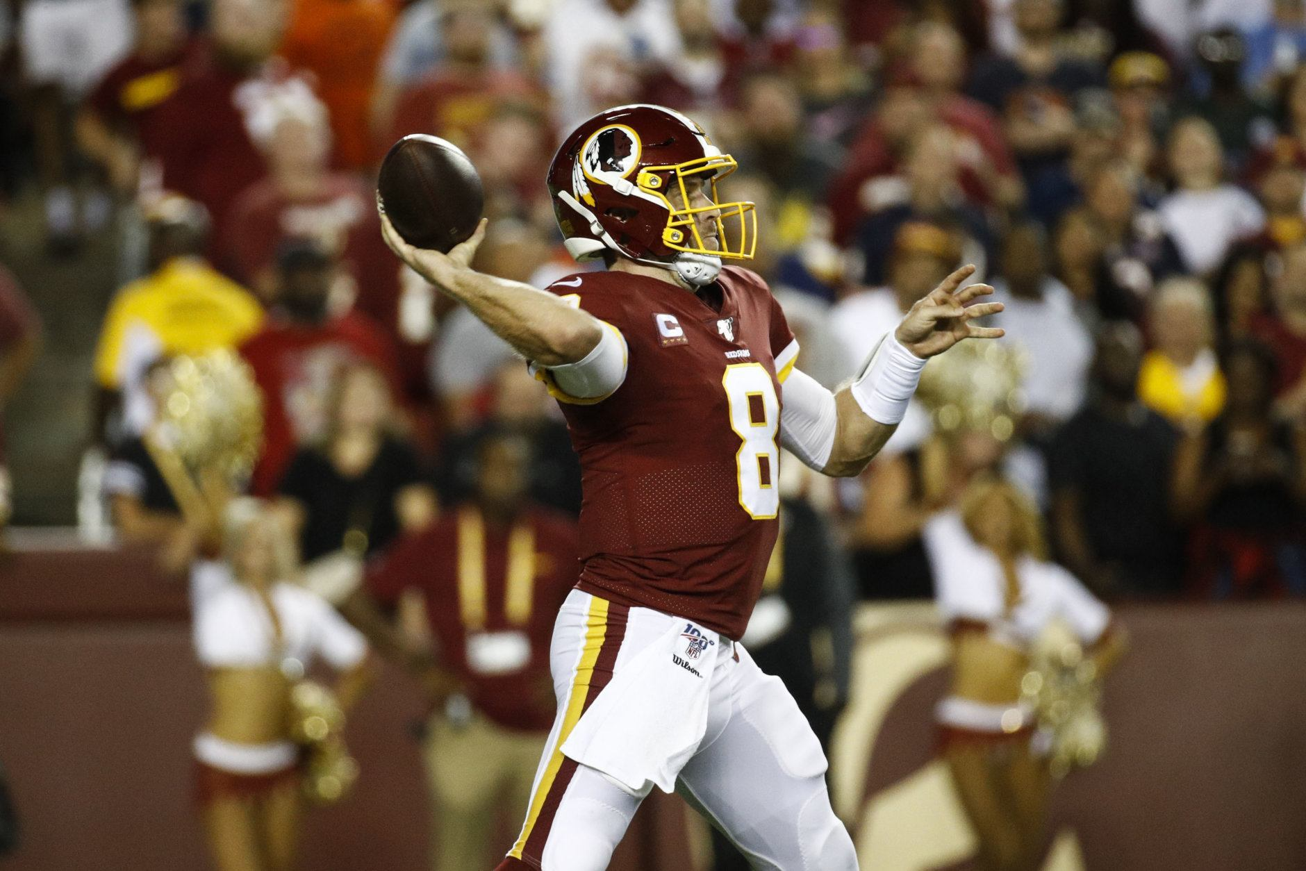 Washington Redskins quarterback Case Keenum (8) throws during the first half of an NFL football game against the Chicago Bears, Monday, Sept. 23, 2019, in Landover, Md. (AP Photo/Patrick Semansky)