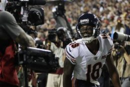 Chicago Bears wide receiver Taylor Gabriel celebrates his touchdown pass during the first half of an NFL football game against the Washington Redskins, Monday, Sept. 23, 2019, in Landover, Md. (AP Photo/Julio Cortez)