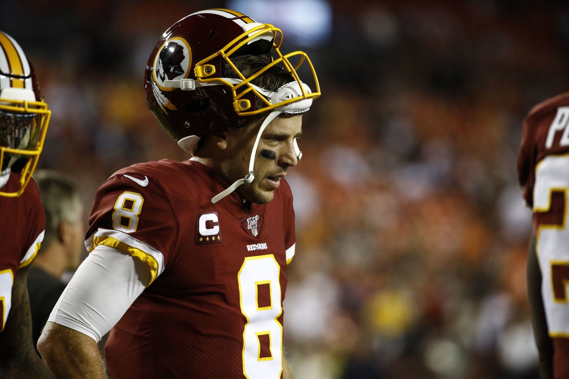 Washington Redskins quarterback Case Keenum (8) walks on the field during the first half of an NFL football game against the Chicago Bears, Monday, Sept. 23, 2019, in Landover, Md. (AP Photo/Patrick Semansky)