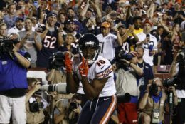 Chicago Bears wide receiver Taylor Gabriel (18) celebrates his touchdown pass during the first half of an NFL football game against the Washington Redskins, Monday, Sept. 23, 2019, in Landover, Md. (AP Photo/Patrick Semansky)