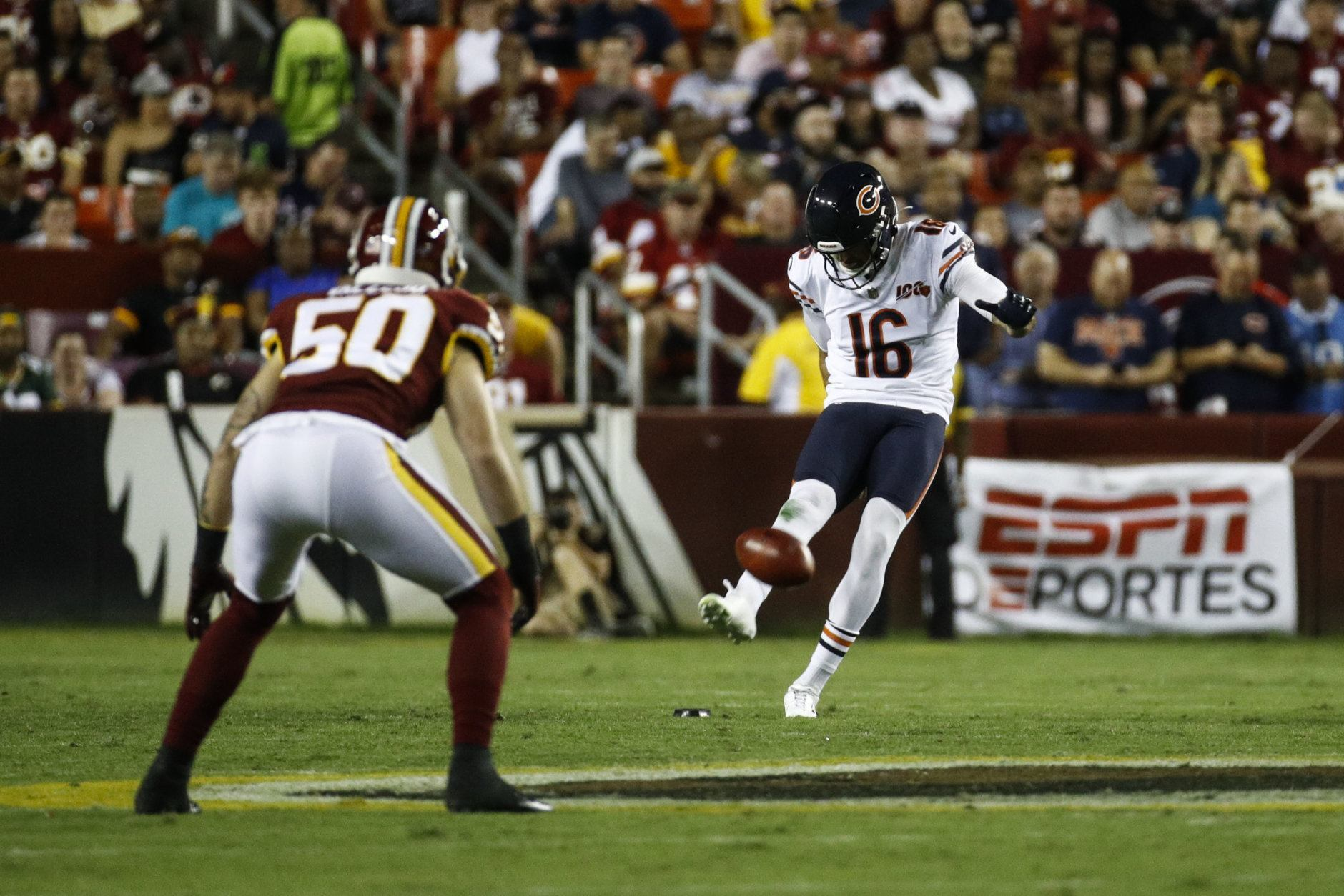 Chicago Bears punter Pat O'Donnell (16) kicks the ball during the first half of an NFL football game against the Washington Redskins, Monday, Sept. 23, 2019, in Landover, Md. (AP Photo/Patrick Semansky)