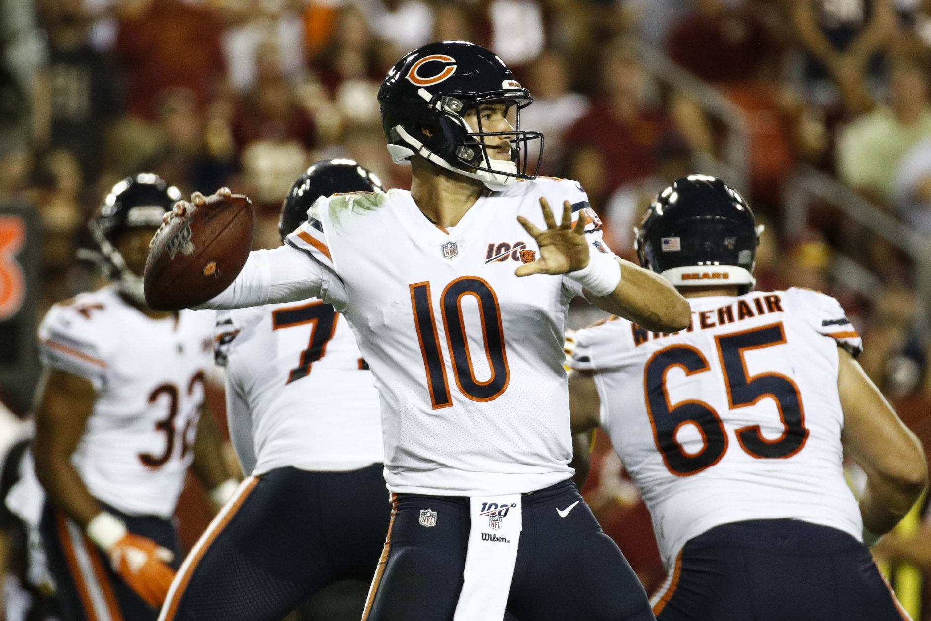 Chicago Bears quarterback Mitchell Trubisky (10) passes the ball during the first half of an NFL football game against the Washington Redskins, Monday, Sept. 23, 2019, in Landover, Md. (AP Photo/Patrick Semansky)